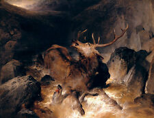 Deer And Deer Hounds in a Mountain Torrent EDWIN LANDSEER STAG B a3 01583