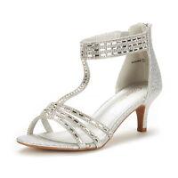 DREAM PAIRS Women Roxanne Summer Open Toe Wedding Dress Pumps Low Heel Sandals