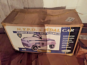Vintage Gearbox Pedal Car Toy NYPD Police Department New York in BOX NEVER USED!