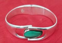 VTG Mexico 950 Sterling Silver Hinged Cuff Bracelet Taxco Mexico Malachite inset