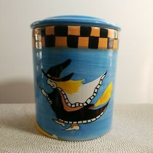 Blue Halloween Moon & Witch Lidded Canister Candy Cookie Jar Ceramic, small chip