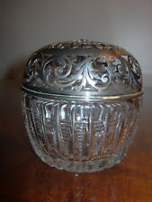 Antique Gorham Sterling Silver Cut Glass String Holder