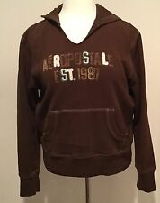 Aeropostale Junior's Brown Hoodie Sweater with front pocket Size Large