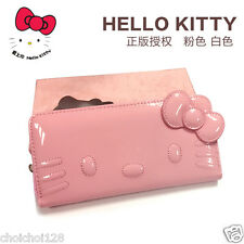 Hello Kitty Pink Enamel Long Wallet Zip Around Purse Bag KK679