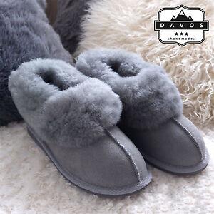 Women's Luxury Handmade 100% Genuine Sheepskin Suede Fur Slippers  Hard EVA Sole