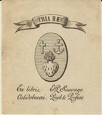 EX-LIBRIS ABBÉ SAUVAGE CHANOINE CATHÉDRALE DE ROUEN - NORMANDIE - 19ème