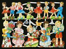 German Embossed Scrap Die Cut - Precious Children / Valentine / Flowers  EF7030