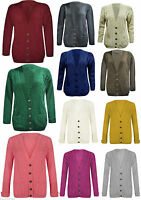 New Womens Ladies Long Chunky Cable Knitted Button Long Sleeves Cardigan 8-14