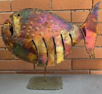 Large Vintage Torch Cut Metal Fish Sculpture Mid Century Modern Atomic Era