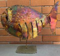 Large Vintage Torch Cut Metal Fish Sculpture Mid Century Modern Atomic Era