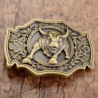 Vintage Bronze Bull Pattern Alloy Metal Cowboy Western Belt Buckle Mens Novelty