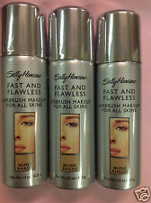( LOT OF 3 ) Sally Hansen Fast and Flawless Airbrush Foundation NUDE SHADE NEW.