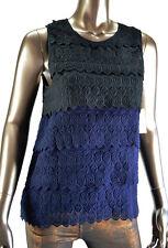 NWT Joie Caviar/Dark Navy Two-tone Lucette Sleeveless Silk Top S Retail $515