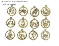Zodiac Star Sign Charms, Gold or Nickel Plate Jewellery, Bracelets, Scrapbooking