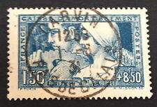 Timbre France, n°252c,  le travail bleu/vert, TB, Obl, cote 610e. signe Calves