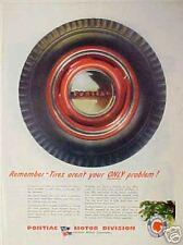 WWII Pontiac Motor Car~1944~Tire Hub Cap Tire AD