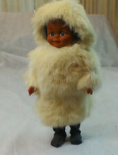 ANTIQUE VINTAGE ESKIMO  DOLL WEARING WHITE FUR