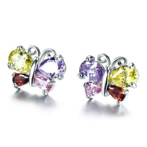 Rainbow Butterfly Multi Amethyst Peridot Citrine Garnet Gem Silver Stud Earrings