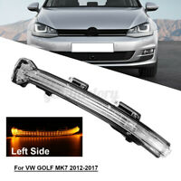 Left Side LED Car Door Wing Mirror Indicator Lens Light for VW GOLF MK7 12-17