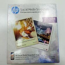 """HP Social Media Snapshots 25 4"""" x 5"""" Sticky-Backed Photo Sheets NEW & Sealed"""