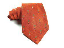 "Mens Robert Talbott James Clothier USA 4.25""x58"" Burnt Orange Palm Tree Silk Tie"