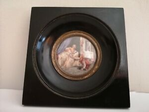 Signed Francois Dumont Miniature on Ivory Late 18th early 19th Century Woman Bed