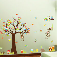 Wall Decals Kid Bedroom Tree Owl Baby Room Decoration Removable Wallpaper Monkey