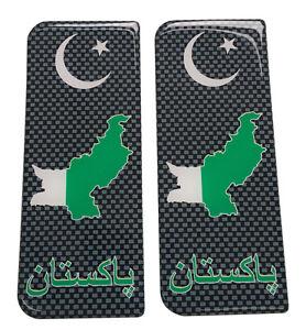 2x Pakistan Brickwork Gel Domed Number Plate Badges/Decals 107x42mm