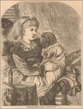 GIRL PRACTICES MEDICAL SKILL on Sick Dog antique original engraving MATTED 1873