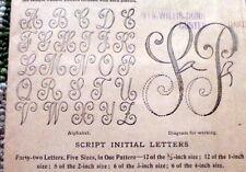 "Rare Vtg 1920s Script Initials Transfer Pattern Initial ""L"" Motifs Uncut"