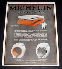 1919 OLD MAGAZINE PRINT AD, INSIST ON MICHELIN FULL-SIZE INNER TUBES, MAN ART!