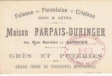 QUIMPER carte du magasin maison PARPAIS DURINGER 40 rue keréon poteries faiences