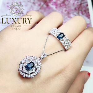 Natural Blue Sapphire 0.5ct Gemstone Solid 925 Silver Luxury Women Jewelry Set