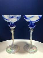 Cobalt Blue & White Cased Iridescent Art Glass Candlesticks Hand Made in Poland