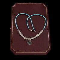 Vintage Designer Sterling Silver Turquoise Glass & Quartz Swirl Pendant Necklace