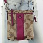 NWT Coach Signature Stripe Shoulder Bag Crossbody Swingpack Berry F48806 Rare