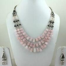 Necklace earrings natural rose quartz gemstone semi precious stone beads jewelry