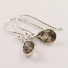 Natural SMOKY QUARTZ Gemstone 925 Sterling Silver Girl's Pretty Earrings
