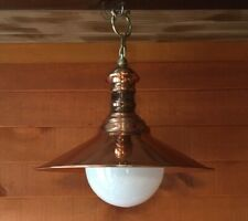 Copper Hanging Pendant Light Fixture With Glass Globe Shade