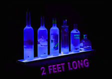 "24"" COLOR LED LIGHTED LIQUOR BOTTLE DISPLAY BAR SHELF - GLASS DISPLAY"