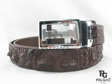 "PELGIO Genuine Crocodile Alligator Head Bump Skin Leather Men's Belt 46"" Brown"