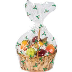Christmas Holly Hamper Wrap cellophane Basket Gift wrap Large Cello Bag