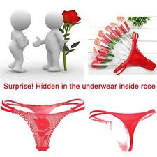 Panties Briefs Lingerie G-string Thongs Lace Underwear Red Rose Flower