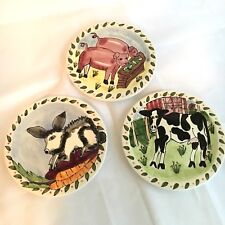 Tika Lotus International 3 Vintage Decorative Ceramic Art Plates Cow Pig Rabbit