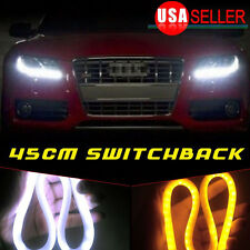2 X 12V DRL LED Strip White Amber Tube Daytime Headlight For Audi Style 45CM