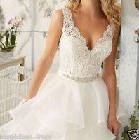 White/Ivory Wedding Dress Bridal Ball Gown Custom Size 4 6 8 10+12 14 16 18+