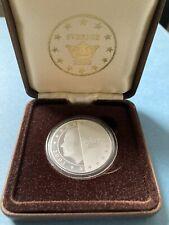 More details for sweden 2003 silver proof piedfort 5 euro essai pattern - boxed/coa