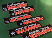 (6) Vintage '84 Reagan CAMPAIGN BUMPER STICKER American Hero Black Background