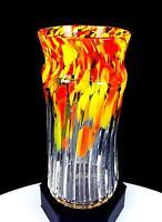 """STUDIO ART GLASS ARTIST SIGNED ORANGE YELLOW RED MOTTLED RIBBED 6 1/2"""" VASE"""