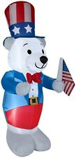 4' Gemmy Airblown Inflatable Fourth Of July White Bear Yard Decoration